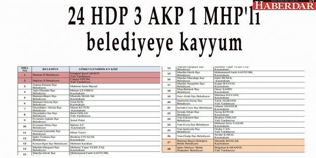 24 HDP 3 AKP 1 MHP'li belediyeye kayyum