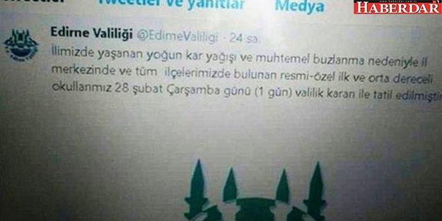 Edirne'yi karıştıran tweet