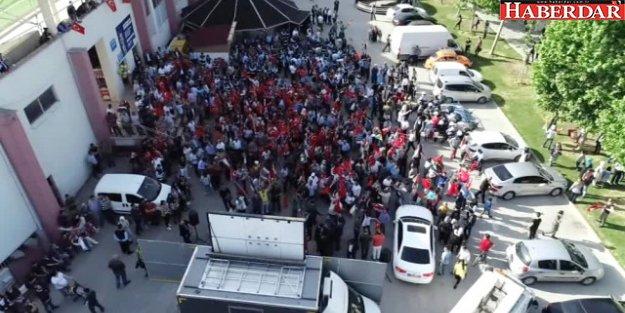 Esenyurt'ta İsrail Protestosu Havadan Görüntülendi
