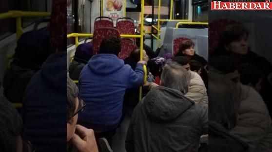 Halk otobüsünde çatışmanın ortasında kaldılar...