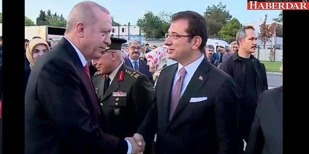 İBB Başkanı İmamoğlu, Cumhurbaşkanı Erdoğan'ı protokolde karşıladı