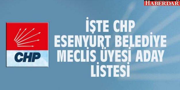 İŞTE CHP ESENYURT BELEDİYE MECLİS ÜYESİ ADAY LİSTESİ