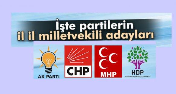 İşte Partilerin İl İl Milletvekili Adayları