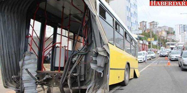 Seyir halindeki otobüs ikiye bölündü!
