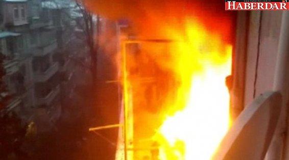 Şişli'de 6 katlı binada yangın
