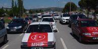 Akşener, Balıkesir'de yaklaşık 300 araçlık konvoy ile karşılandı.