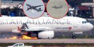 Havada alev alan uçak acil iniş yaptı!