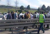 İstanbul'da metrobüs yolunda kaza