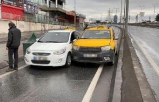 Esenyurt'ta boş yolu paylaşamayan sürücüler...