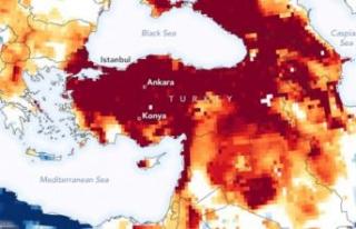 NASA, Türkiye'deki kuraklıkla ilgili harita...