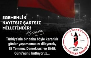 İstanbul Gazeteciler Derneği'nden 15 Temmuz...