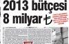 İstanbul'un 2013 bütçesi  8 milyar TL