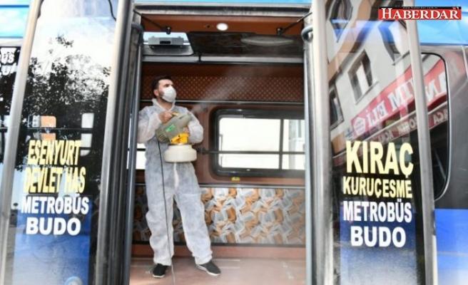 Esenyurt'ta toplu taşıma araçları ilaçlanıyor