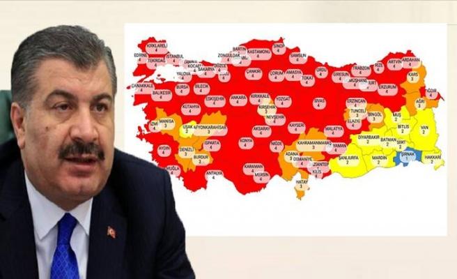 Sağlık Bakanı Koca illerin risk durumunu gösteren Kovid-19 haritasını paylaştı