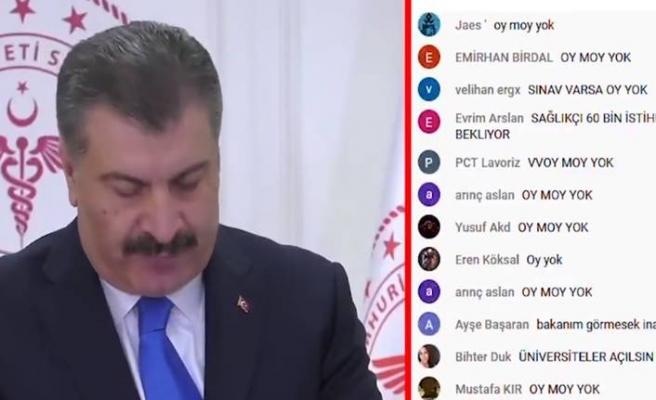 Sağlık Bakanı Koca'ya büyük tepki: Canlı yayına mesaj yağdı