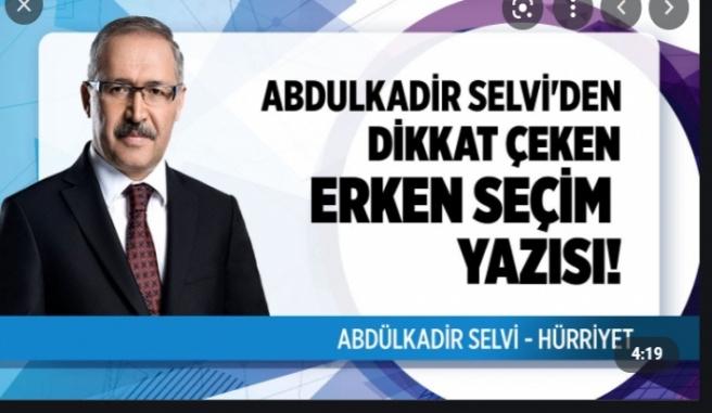 Hürriyet yazarı Abdulkadir Selvi'den dikkat çeken Cumhurbaşkanlığı kulisi geldi.