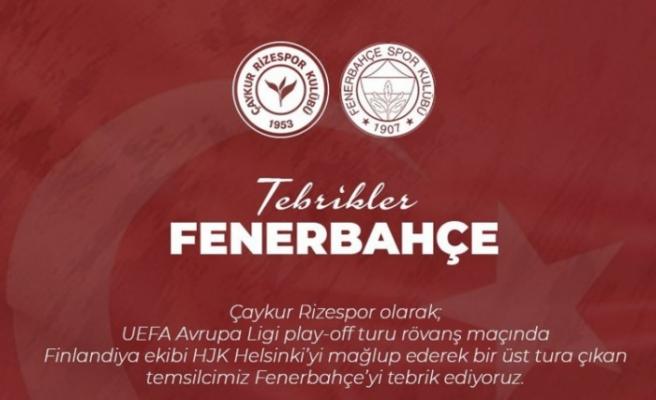 Rizespor Fenerbahçe'yi tebrik etti, Galatasaray'ı es geçti