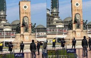 Taksim Cumhuriyet Anıtı'na çirkin saldırı!