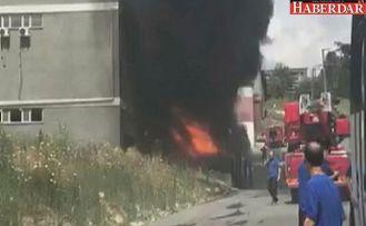 HADIMKÖY'de fabrika yangını!