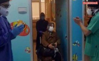 Silivri'de koronavirüsü yenen Feriha Bingöl alkışlarla taburcu edildi