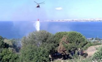 Büyükçekmece'de otluk alandaki yangına helikopterli müdahale