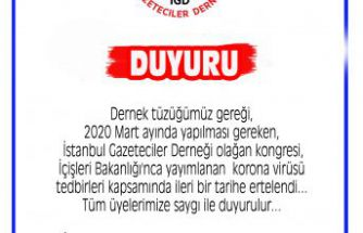 İstanbul Gazeteciler Derneği olağan kongresi ertelendi...