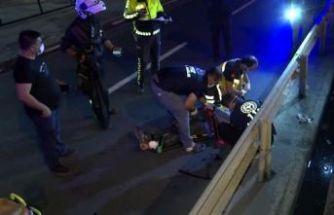 Küçükçekmece'de bariyerlere çarpan motosikletin sürücüsü ölümden döndü