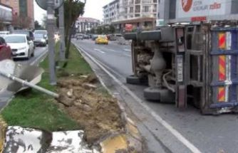 Büyükçekmece'de kamyonet devrildi, kemikler yola saçıldı