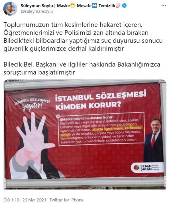 Bakan Soylu açıkladı: Bilecik Belediye Başkanı hakkında soruşturma başlatıldı
