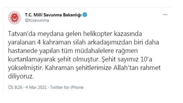 Bitlis'te şehit sayısı 10'a yükseldi