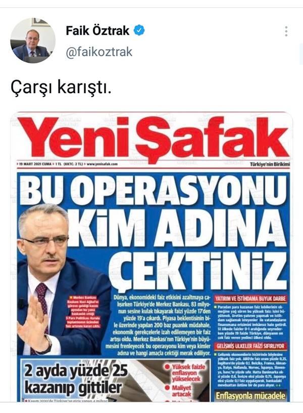 CHP Sözcüsü Öztrak Yeni Şafak'ın manşetini paylaştı