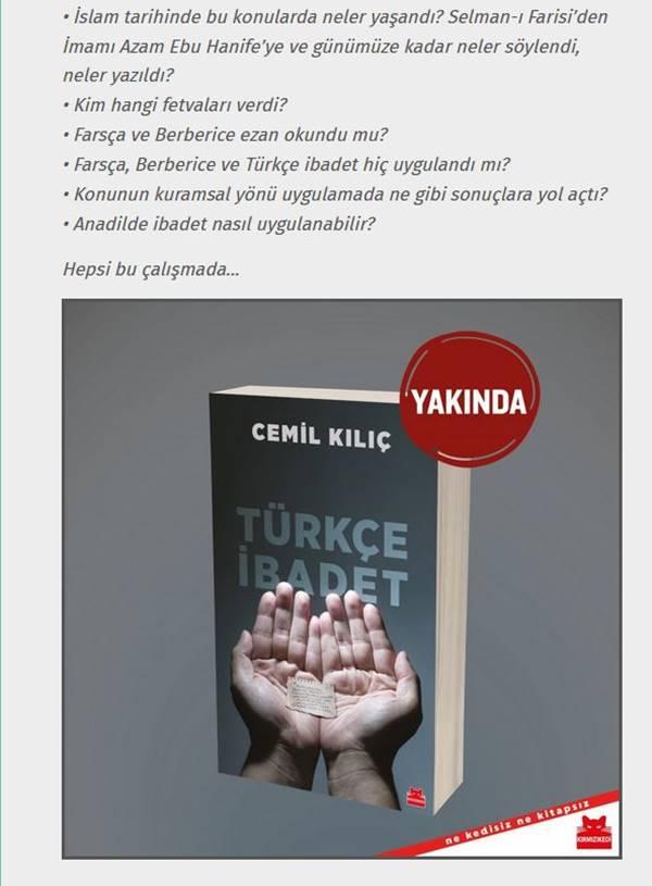 Cemil Kılıç'ın yeni kitabı Türkçe İbadet yarın raflarda