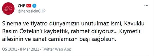 Cumhuriyet Halk Partisi'nin resmi Twitter hesabından Rasim Öztekin mesajı