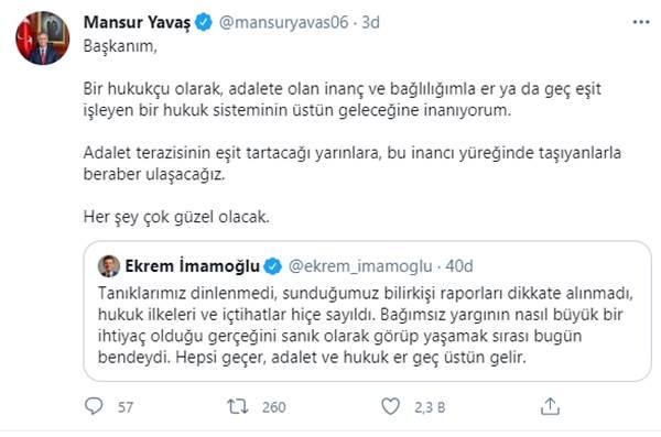Mansur Yavaş: Ekrem İmamoğlu'na verilen cezaya tepki gösterdi