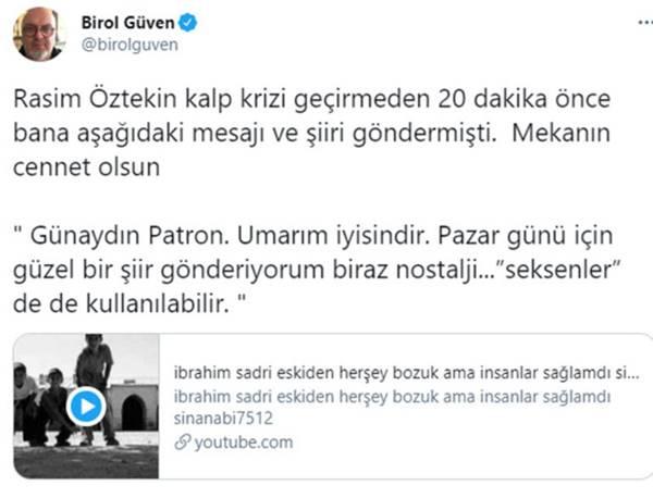 Rasim Öztekin'in vefat etmeden önce attığı son mesaj ortaya çıktı