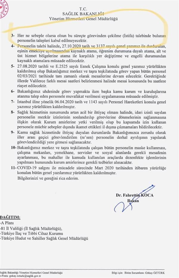 Sağlık Bakanlığı'ndan yeni genelge Talepleri kabul edilmeyecek