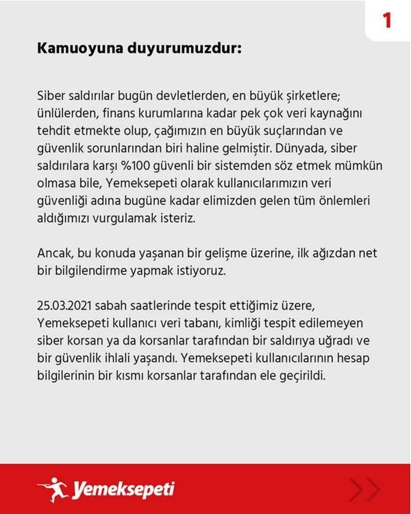 Türkiye'nin en büyük yemek sipariş sitesi Yemeksepeti siber saldırıya uğradı