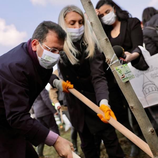 8 Mart Hatıra Ormanı'nın ilk fidanlarını İmamoğlu çifti dikti